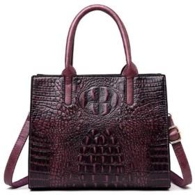 女性トートショルダーバッグワニハンドバッグ女性ワニパターン本革ヴィンテージバッグ (Colore : Violet, Size : M)