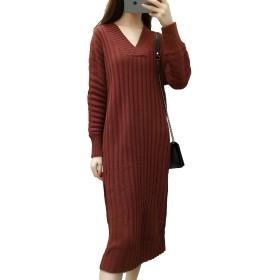 Heaven Days(ヘブンデイズ) ニット Vネック バッキングスカート ワンピース ドレス 長袖 レディース 1703K0222