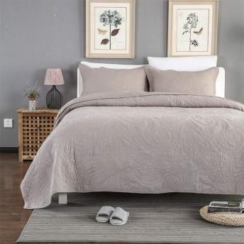 無地ベッドカバーパッチワークキルト布団キルトベッドカバースロー枕ケースシンプルな刺繍寝具3点セットピローケース50X70CMX2毛布,Brown-queen:250X270CM