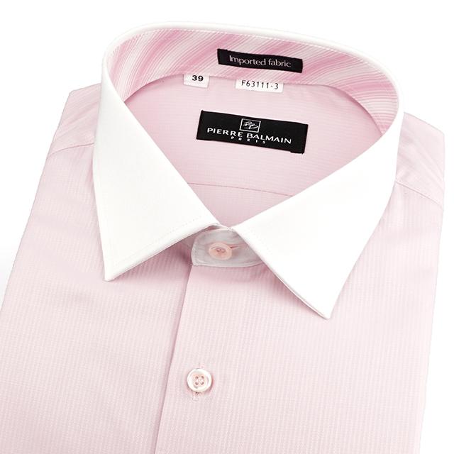皮爾帕門pb紅色緹花、進口素材、配白領、都會品味、簡易整燙合身長袖襯衫63111-03 -襯衫工房