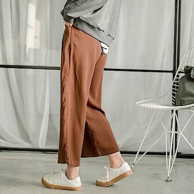 純色腰圍長抽繩造型垂墜感闊腿褲-OB大尺碼