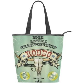 KENADVIトートバッグ 最高級 軽量 キャンバス レディース ハンドバッグ 通勤 通学 旅行バッグ、西部のレトロなスタイルのロデオシップポスター雄牛の頭蓋骨大角バナー汚れた、スタイリッシュ グラフィックス 収納袋