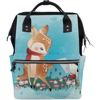 かわいいキツネマウスフラワー 旅行 バックパック 大おむつ オムツ バッグ ラップトップ バックパックレディース メンズ 用