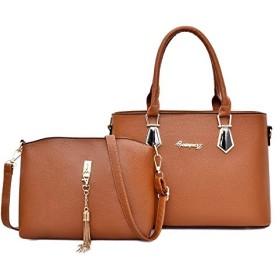 女性のハンドバッグ女性のショルダーバッグ固体puレザーカジュアルトートバッグレディース大容量ハンドバッグ用女性ギフト財布 (Color : Brown)