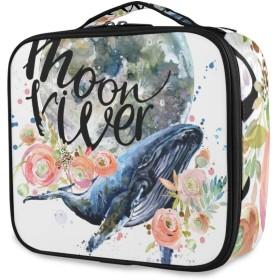 NR化粧ポーチトラベルポーチ大容量機能的トイレタリーバッグかわいい人気化粧道具トイレタリー収納袋、クジラの水彩イラストTシャツグラフィックデザイン、出張旅行用バス用品メイクボックス