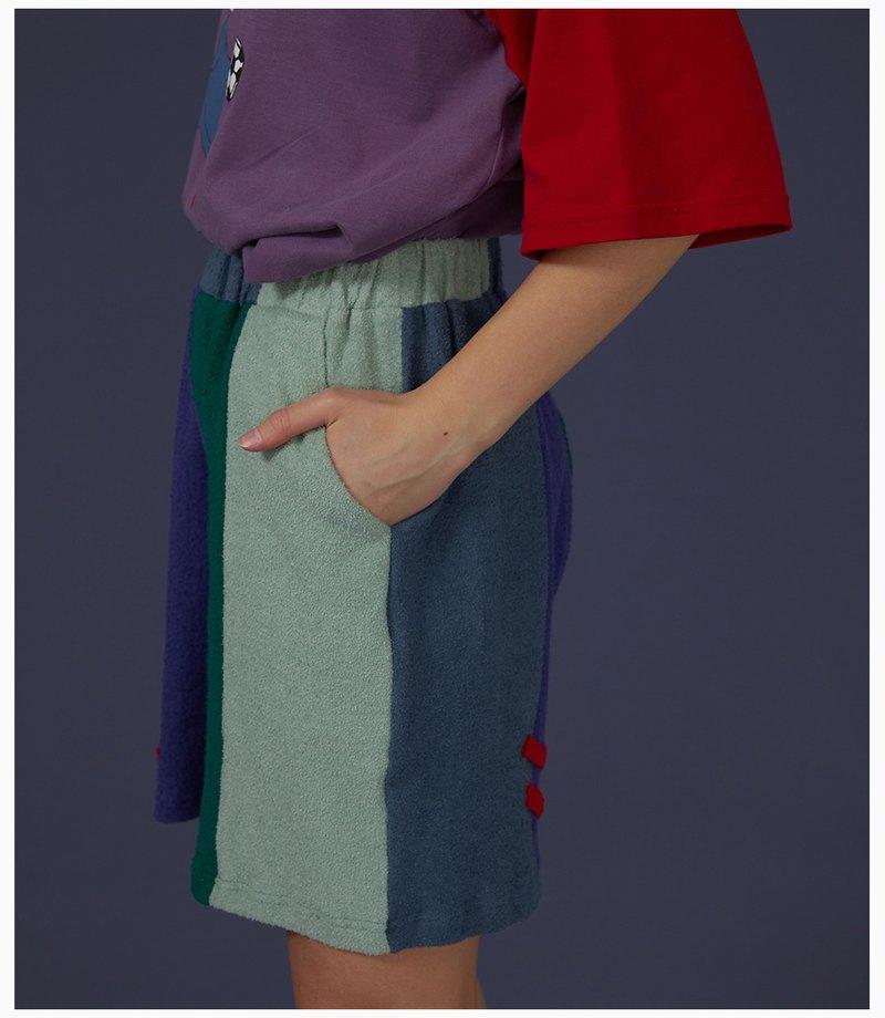 odd maker 毛巾布五色拼色休閒寬松短褲