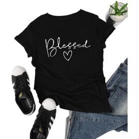 SheIn tシャツ カットソー レディース トップス Tシャツ 半袖 ロゴTシャツ コットン100% ベーシック カジュアル 春 夏 Mサイズ