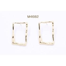 M4682 12個 ピアス金具 長方形フレーム 20×30mm シルバー925 ゴールド 3×【4ヶ】