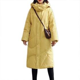 女性のダウンジャケットの冬、すべての行事のために適したカジュアル緩い長い女性の肥厚気質通勤フード付き襟のジッパーのコート (Color : Yellow, Size : XXXL)