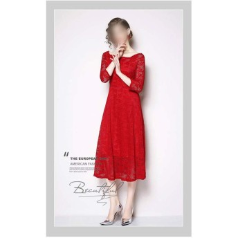 ソリッドカラーの単語の襟は袖スリムレースの気質のドレスをトリミング (Color : Red, Size : 3XL)