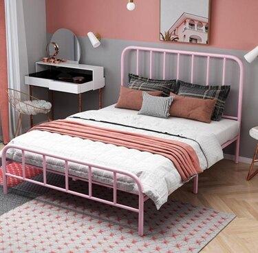 鐵藝床雙人床歐式公主鐵床1.5米簡約現代1.8米鐵架床出租屋金屬床   全館八五折