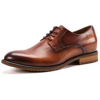 [Jusheng-shoes] メンズシューズ 手作りの靴ヴィンテージ手描きカラーオックスフォードシューズ男性本革カジュアルメンズシューズ増加ダービーシューズ カジュアルシューズ (Color : Brown, Size : 46-EU)