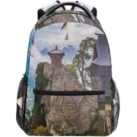 NR 新しい軽量おしゃれ学校バックパック日本の山寺山の建物の高さの崖の精神的な土地牧歌的な霧の農村旅行ハイキングキャンプバッグ多機能 遠足 おしゃれ