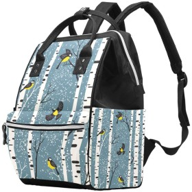 AyuStyle リュック リュックサック レディース メンズ バックパック 雪 白樺の木 鳥 マザーズバッグ ママバッグ 大容量 軽量 通勤 通学 旅行 男女兼用