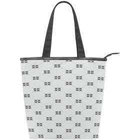 KENADVIトートバッグ 最高級 軽量 キャンバス レディース ハンドバッグ 通勤 通学 旅行バッグ、クロスフェードラインクローバーフラワーナチュラルモノクロ、スタイリッシュ グラフィックス 収納袋