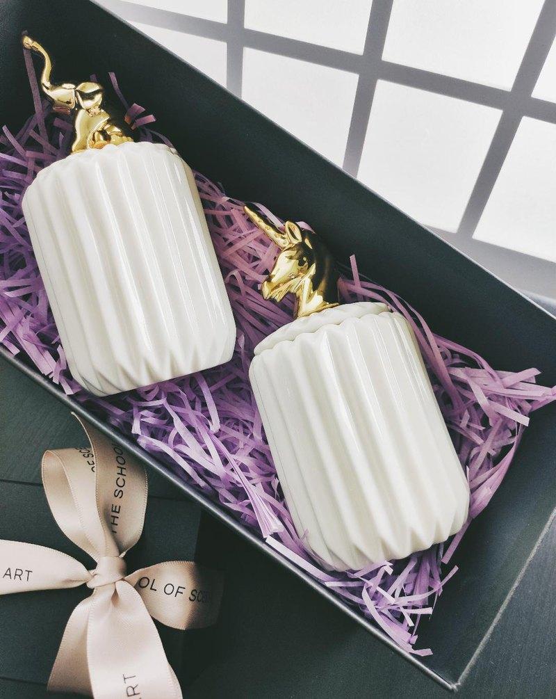 香氛手工蠟燭-陶罐蠟燭禮盒/多款香味可選/一組二個