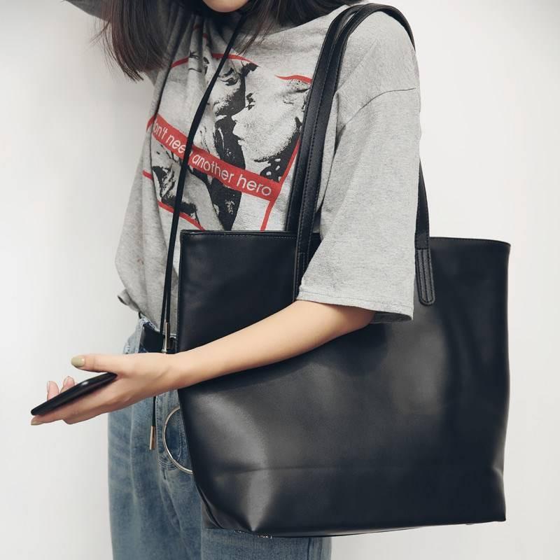 $$优选¥¥原創文藝新款皮包簡約百搭學院風單肩大包休閑包購物袋潮流大包包