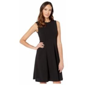 トミー ヒルフィガー レディース ワンピース トップス Solid Scuba Crepe Fit-and-Flare Dress Black