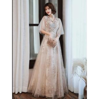 ウエディングドレス 袖あり ロング丈ドレス ナイトドレス 演奏会 着痩せ きれいめ 結婚式 合唱衣装 パーティードレス 披露宴 成人式 発表
