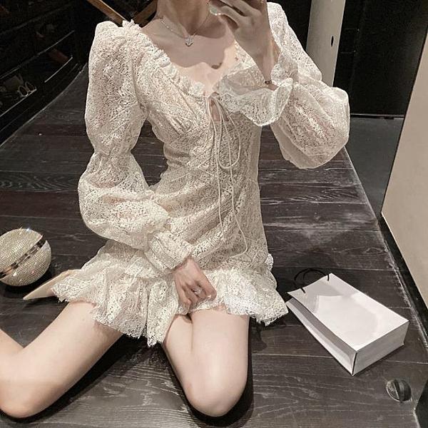 洋裝女裝秋冬季新款洋氣法式氣質初戀白色蕾絲a字egg短裙子 伊衫風尚