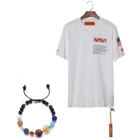メンズTシャツヘロンプレストンNASAスペースプログラム男の子と女の子のための8つの惑星ガーディアンブレスレット付き半袖コットン女性Tシャツ,白,XL