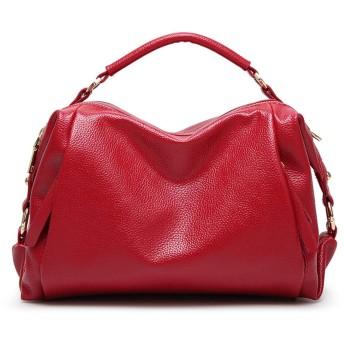 D.IIZOO ショルダーバッグ レディース ハンドバッグ トートバッグ 2way バッグ 大容量 PU革バッグ 斜めがけ 大人 通勤 ビジネス 鞄 かばん 30代40代 防水 おしゃれ (レッド)