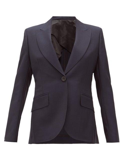 Ssone - Metta Single-breasted Wool-blend Jacket - Womens - Navy