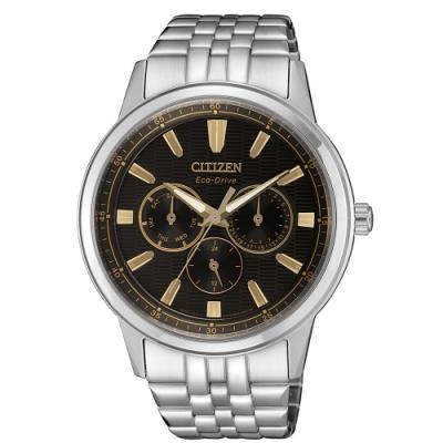 CITIZEN 星辰 光動能 三眼計時手錶-黑x銀/44mm BU2071-87E