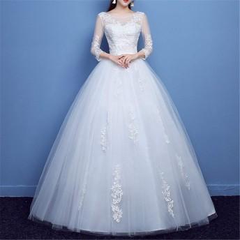ファッション レース ウェディングドレス 花嫁 結婚 オフショルダー ミドルスリーブ