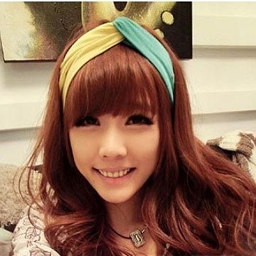 UNICO 韓國 韓版 超寬純綿糖果甜美雙色髮帶 交叉拼色/髮帶/髮飾
