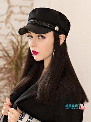 假髮帽子 帽子帶假髮一體女秋冬天款英倫復古中長髮自然時尚貝雷帽全頭套式  聖誕節禮物