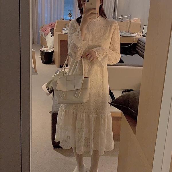 蕾絲內搭打底裙女秋冬流行裙子中長款洋裝氣質顯瘦超仙長裙 伊衫風尚