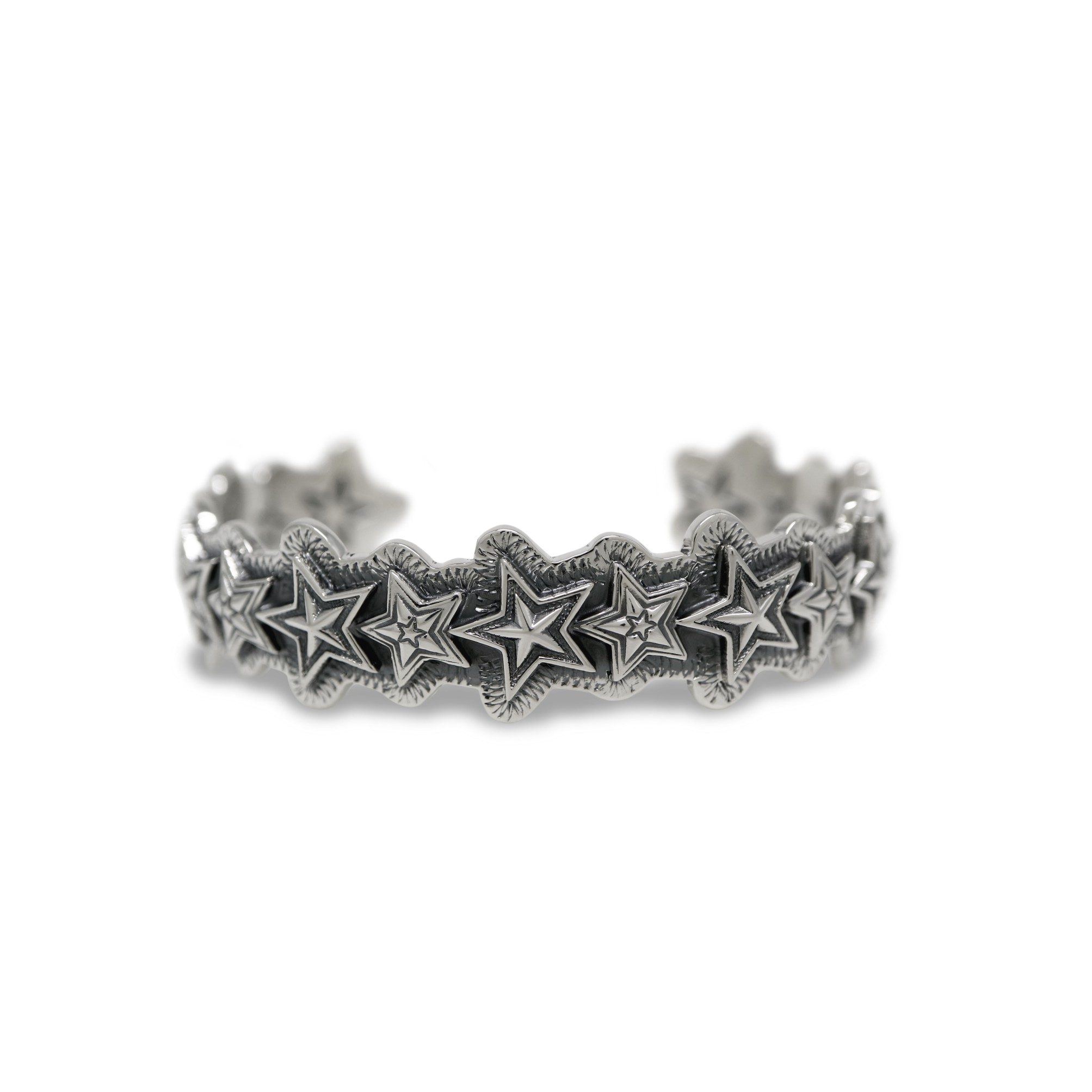 EXTRA SMALL FACETED & TINY STAR IN STAR CUFF  [USD $1540]
