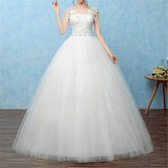 ウェディングドレス 花嫁 オフショルダー スリム レース シンプル パーティードレス
