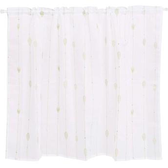 カフェカーテン 刺繍 HAVARGO 目隠し おしゃれ かわいい 春 夏 レースカフェ ホワイト 幅110cm×75cm丈