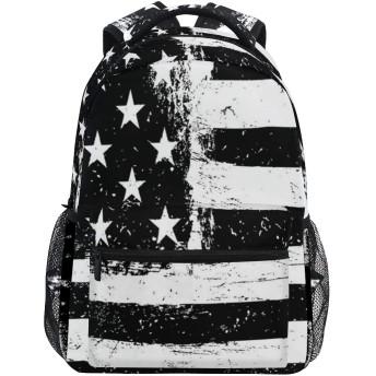 NR 新しい軽量おしゃれ学校バックパックグランジ熟成黒と白のアメリカ国旗独立7月4日旅行ハイキングキャンプバッグ多機能 遠足 おしゃれ