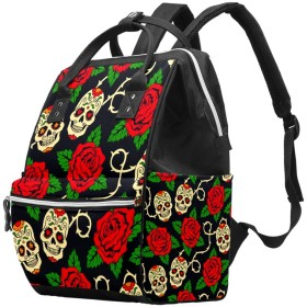AyuStyle リュック リュックサック レディース メンズ バックパック 赤い バラ スカル マザーズバッグ ママバッグ 大容量 軽量 通勤 通学 旅行 男女兼用