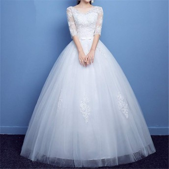 ウェディングドレス オフショルダー 花嫁 結婚 スリム パーティードレス
