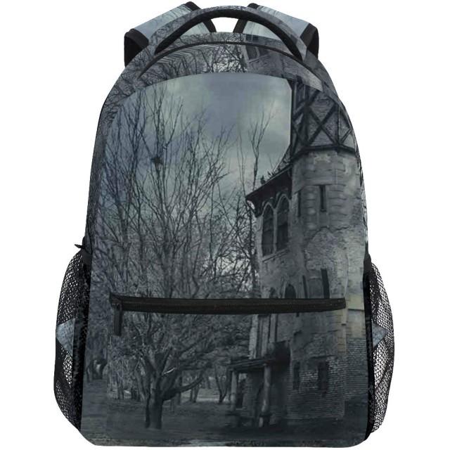 NR 新しい軽量おしゃれ学校バックパックゴシックお化け屋敷ハロウィーンのデザイン暗い空と葉のない木不気味なテーマ旅行ハイキングキャンプバッグ多機能 遠足 おしゃれ