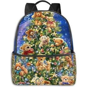 クリスマスベア コンピュータバックパック大容量 リュック メンズ レディース 通学 通勤 おしゃれ 可愛い カジュアル 旅行 バックパック