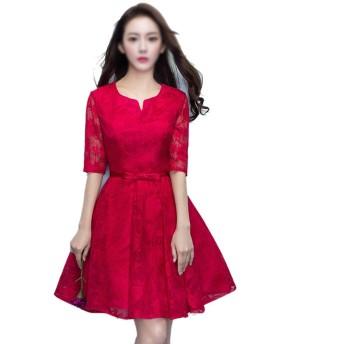 女性のドレスレース刺繍ハーフスリーブ宴会ウェディングパーティーイブニングドレス (Color : Red, Size : XL)