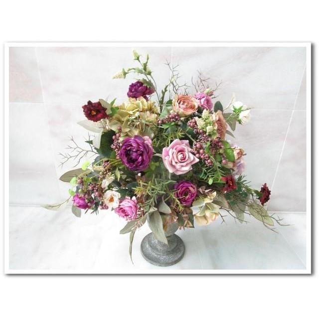 ◆アーティフィシャルフラワー アートフラワー 造花◆クラシカル花器の豪華な花瓶アレンジ パープルカラーインテリアやディスプレイに最適