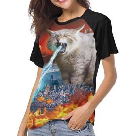最新のアジアの人気女性野球半袖 ねこ 夏の若い女性のストリートファッション半袖Tシャツ 学校、仕事、旅行、ショッピングXXL