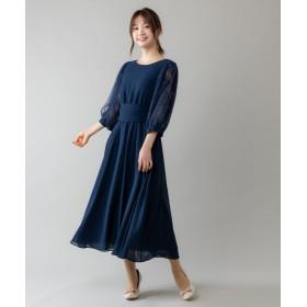 ルゥデ ウエストリボン付ロングドレス(0R04 A2000) レディース ネイビー L 【Rewde】