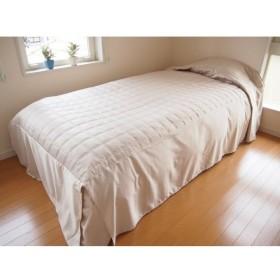 ニコル・ベッドスプレッド(ベッドカバー) シングル(SL)幅110cm×長さ280cm×高さ45cm ベージュ