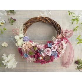 Lune Bonheur <Rose framboise> *ハーフムーンリース*プリザーブドフラワー*リース*お花*ギフト*結婚祝い*記念日*ウェディング