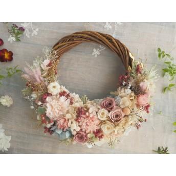 Lune Bonheur <Antique rose > *ハーフムーンリース*プリザーブドフラワー*リース*お花*ギフト*結婚祝い*ウェディング*1点もの