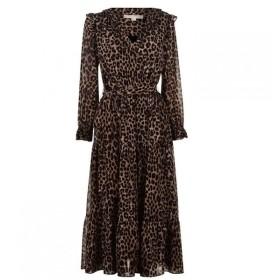 マイケル コース MICHAEL Michael Kors レディース ワンピース ワンピース・ドレス MMK Cheetah Tiered Dark Camel