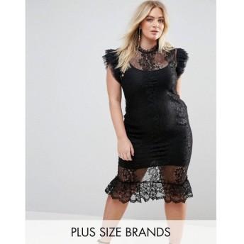 【残り1点!】【サイズ:UK26】クラブエル Club L Plus レディース ワンピース・ドレス ワンピース Lace Flutter Sleeve Midi Dress Black
