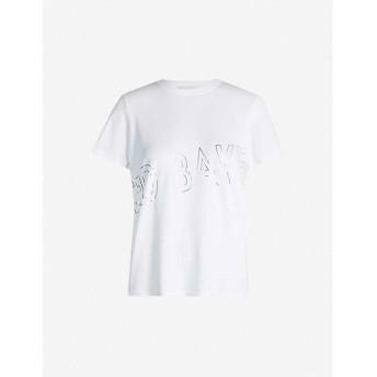 テッドベーカー TED BAKER レディース Tシャツ トップス Metallic logo-print cotton-jersey T-shirt White